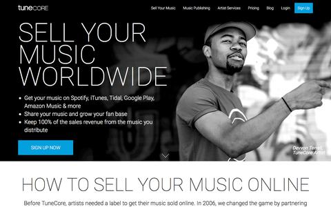Screenshot of Home Page tunecore.com - TuneCore: Sell Your Music Online - Digital Music Distribution - captured May 6, 2018