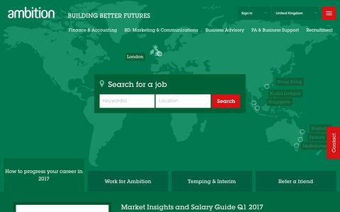 Screenshot of Home Page ambition.co.uk - Professional Services Recruitment Agency in London -  - Ambition UK - captured Jan. 18, 2017