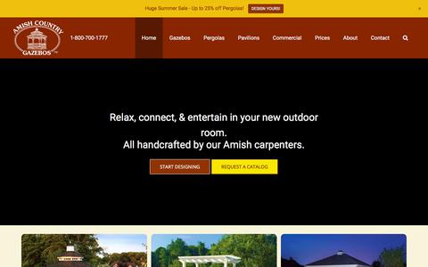 Screenshot of Home Page amishgazebos.com - Amish Built Gazebos, Pavilions and Pergolas   Amish Country Gazebos - captured June 21, 2018