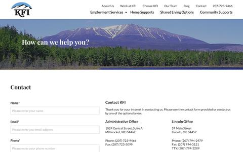 Screenshot of Contact Page kfimaine.org - Contact KFI | 4 Branches in Maine | Millinocket, Maine - captured Oct. 14, 2018