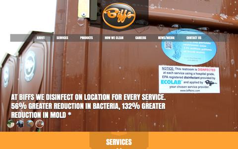 Screenshot of Home Page biffsinc.com - Biffs Inc | Portable Restroom Rental | Portable Toilets | Minnesota - captured March 27, 2016