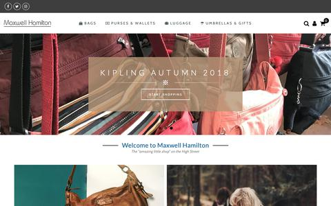 Screenshot of Home Page maxwellhamilton.co.uk - Quality Leather Handbags, Bags, Backpacks, Luggage at Maxwell Hamilton - captured Nov. 6, 2018