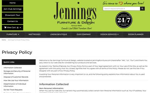 Screenshot of Privacy Page jenningsfurniture.com - Privacy Policy | Jennings Furniture - captured Oct. 14, 2018