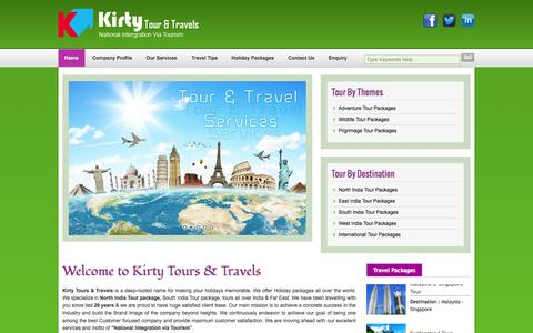 Screenshot of Home Page kirtytours.com - India Tour Packages,Golden Triangle Tour,Air Ticket Booking,Hotel Booking Services - captured Oct. 10, 2014