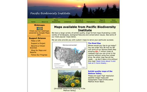 Screenshot of Maps & Directions Page pacificbio.org - Maps from Pacific Biodiversity Institute - captured Oct. 1, 2014