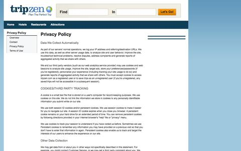 Screenshot of Privacy Page tripzen.com - Privacy Policy - TripZen - captured Sept. 19, 2014