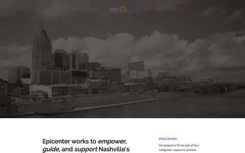 Screenshot of Home Page About Page epicenternashville.com - epicenter - captured Sept. 30, 2014