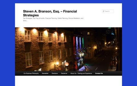 Screenshot of Contact Page sab-esq.com - Contact Us | Steven A. Branson, Esq. – Financial Strategies - captured Dec. 2, 2016