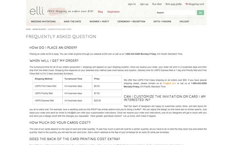 Screenshot of FAQ Page elli.com - Frequently Asked Questions - Elli Designer Stationery - captured Sept. 16, 2014
