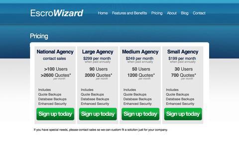 Screenshot of Pricing Page escrowizard.com - Pricing   Escrowizard - captured July 15, 2016