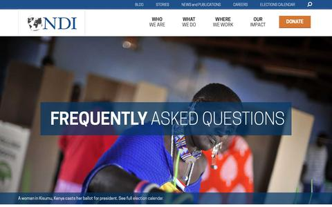 Screenshot of FAQ Page ndi.org - Frequently Asked Questions | National Democratic Institute - captured Nov. 15, 2018