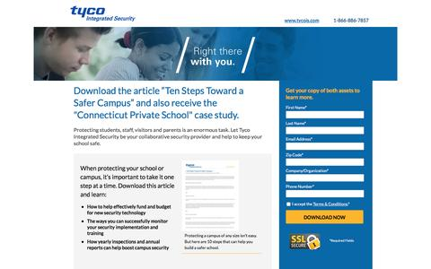 Screenshot of Landing Page tycois.com - Download the Ten Steps Toward a Safer Campus Article | TycoIS - captured Aug. 11, 2016