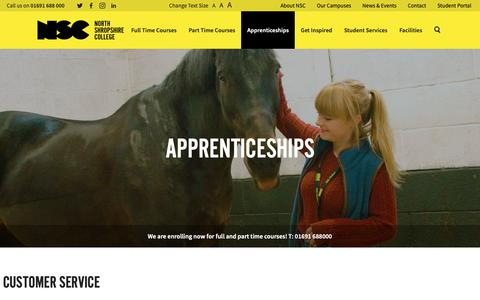 Screenshot of Support Page nsc.ac.uk - Customer Service - North Shropshire College - captured Oct. 24, 2018