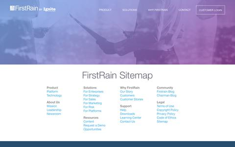 Screenshot of Site Map Page firstrain.com - Sitemap - FirstRain - captured Oct. 25, 2017