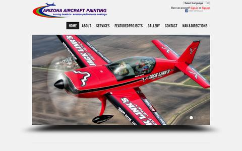 Screenshot of Home Page arizonaaircraftpainting.com - Home - Arizona Aircraft Painting - captured Oct. 4, 2014