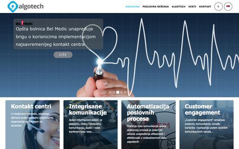 Screenshot of Home Page algotech.rs - algotech, ip telefonija, kontakt centar, sms servisi, avaya, cisco, egain, nice - captured Oct. 7, 2017