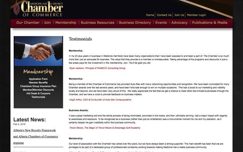 Screenshot of Testimonials Page medicinehatchamber.com - Testimonials | Medicine Hat & District Chamber of Commerce - captured Feb. 4, 2016