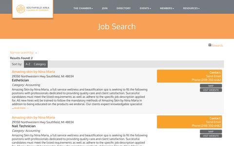 Screenshot of Jobs Page southfieldchamber.com - Job Search - Southfield Area Chamber of Commerce, MI - captured Dec. 1, 2016