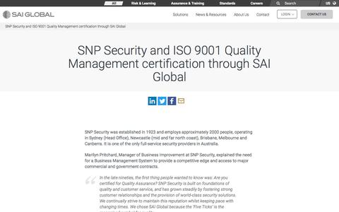 Screenshot of Case Studies Page saiglobal.com - SNP Security and ISO 9001 Quality Management certification through SAI Global - SAI Global - captured Dec. 12, 2019