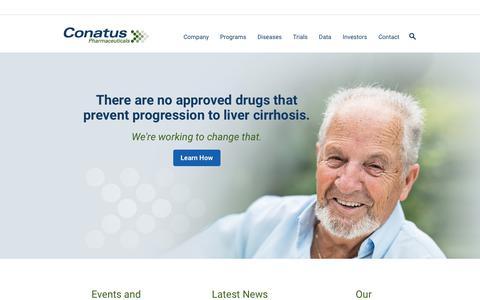 Screenshot of Home Page conatuspharma.com - Liver Cirrhosis - NASH | Conatus Pharmaceuticals - captured Nov. 1, 2017