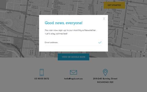 Screenshot of Contact Page sgd.com.au - Contact | Seriously Good Design, Melbourne - captured Feb. 17, 2016