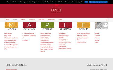 Screenshot of Services Page maplecom.co.uk - Services | Maplecom - captured Oct. 16, 2018