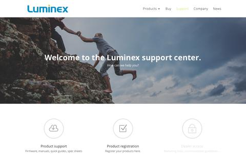Screenshot of Support Page luminex.be - Support | Luminex - captured Sept. 19, 2017