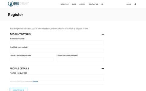 Screenshot of Signup Page ieen.edu.mx - Create an Account – IEEN - captured Oct. 12, 2018