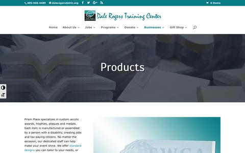 Screenshot of Products Page drtc.org - Prism Place products   Dale Rogers Training Center - captured Oct. 7, 2018