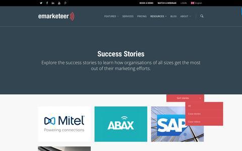 Screenshot of Case Studies Page emarketeer.com - Success Stories - www.emarketeer.com - captured July 19, 2016