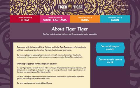 Screenshot of About Page tigertiger.info - About Tiger Tiger Foods — Unleash the East - captured Oct. 4, 2014