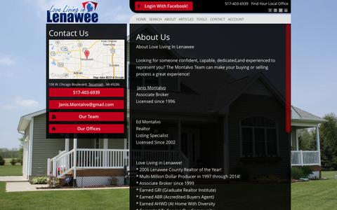 Screenshot of About Page lovelivinginlenawee.com - About Us - Montalvo Real Estate Team - captured Oct. 3, 2014
