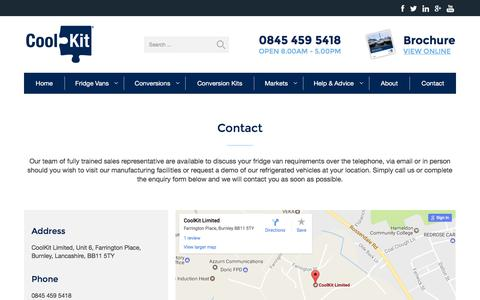 Screenshot of Contact Page coolkit.co.uk - Contact Us - CoolKit Fridge Vans - captured Dec. 26, 2016