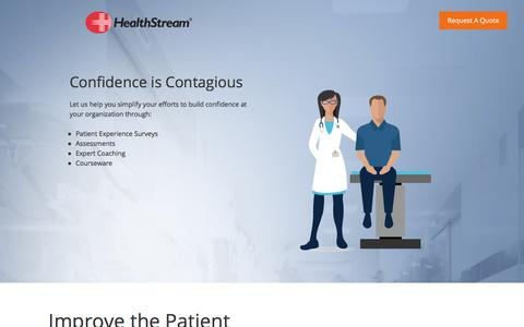 Screenshot of Landing Page healthstream.com - Instill Confidence - captured Feb. 22, 2018