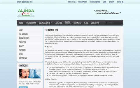 Screenshot of Terms Page alindavelco.com - Terms of Use - AlindaVelco S.A. | Read our Website Terms of Use - captured Sept. 30, 2014