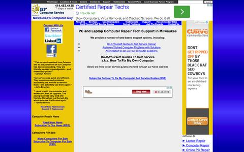 Screenshot of Support Page aurcomputerservice.com - Milwaukee Computer Repair Support, Self-Service Guides, How to Fix My Own Computer | aur Computer Service - captured Sept. 30, 2014