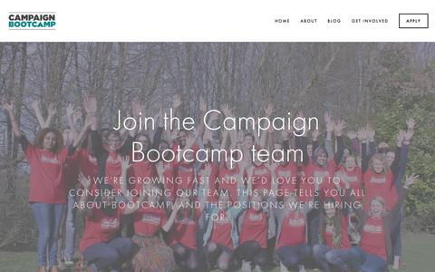 Screenshot of Jobs Page campaignbootcamp.org - Jobs — Campaign Bootcamp - captured July 18, 2015