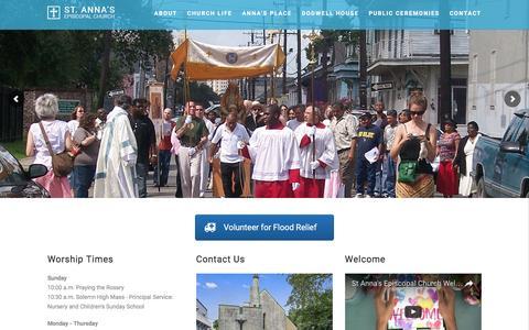 Screenshot of Home Page stannanola.org - Saint Anna's Episcopal Church New Orleans - captured Dec. 1, 2016