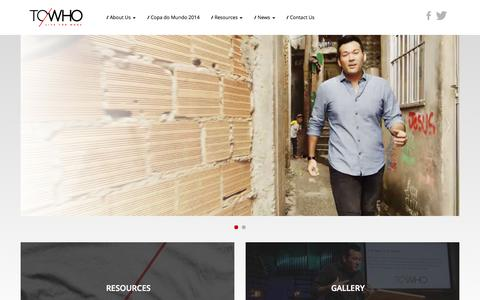 Screenshot of Home Page towho.org - Start   ToWho Live For More - captured Oct. 1, 2014
