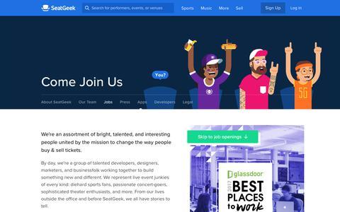 Jobs, Work at SeatGeek | SeatGeek