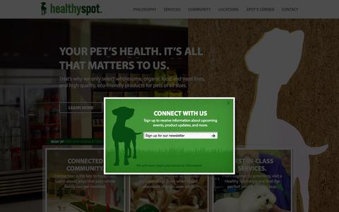 Screenshot of Home Page healthyspot.com - Healthy Spot - Organic Pet Food & Supply - captured Jan. 19, 2015