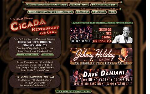 Screenshot of Home Page cicadaclub.com - Swing Dancing Los Angeles : Vintage Nightclub : Los Angeles Swing Dance - captured March 26, 2016