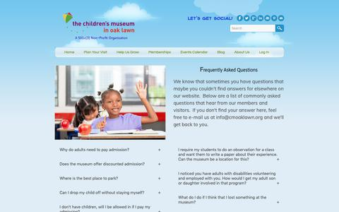 Screenshot of FAQ Page cmoaklawn.org - FAQs - Children's Museum in Oak Lawn - captured Sept. 27, 2018