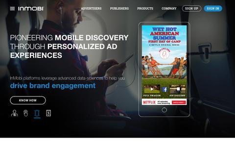 Screenshot of Home Page inmobi.com - InMobi | Mobile Discovery Commerce | Monetization | Advertising - captured June 21, 2016
