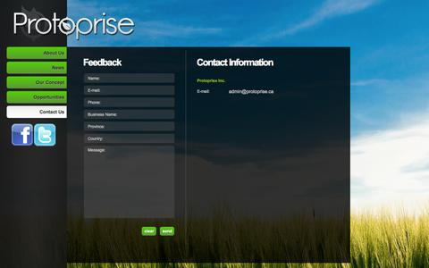 Screenshot of Contact Page protoprise.ca - Contact Us - Protoprise Inc. - captured Oct. 3, 2014