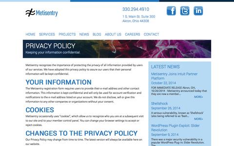 Screenshot of Privacy Page metisentry.com - Privacy Policy for Metisentry, a Web Development firm in Akron, Ohio - captured Oct. 29, 2014