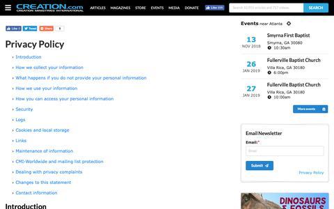 Screenshot of Privacy Page creation.com - Privacy - creation.com - captured Sept. 30, 2018