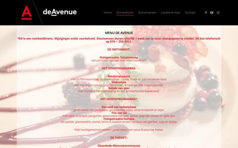 Screenshot of Menu Page de-avenue.nl - Menu - De Avenue - captured Oct. 18, 2018