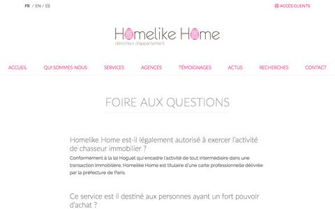 Screenshot of FAQ Page homelikehome.com - Foire aux questions - Homelike Home - captured July 14, 2018