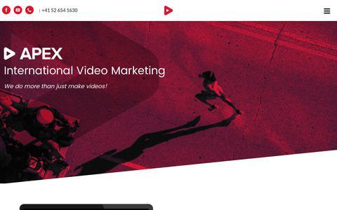 Screenshot of Home Page apexvideomarketing.com - Home   APEX Video Marketing - International Video Marketing Experts - captured July 30, 2018